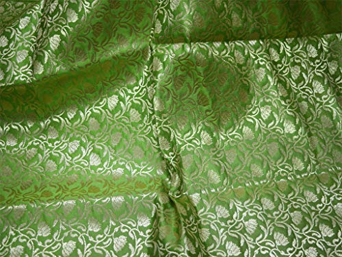 Parrot Green Indian Brocade Fabric by The Yard Wedding Dress Fabric Banarasi Brocade Fabric with Border for Lengha Costume Crafting Sewing - Border Silk Brocade