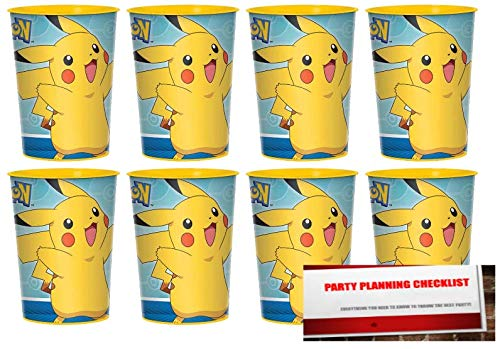 Pokemon Pikachu 16oz Plastic Favor Cups 8 Pack (Plus Party Planning Checklist by Mikes Super Store)