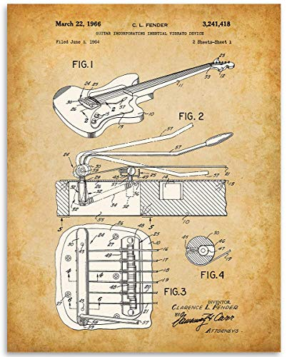 (1966 Fender Guitar Whammy Bar Patent - 11x14 Unframed Patent Print - Great Gift Under $15 for Guitar Players)
