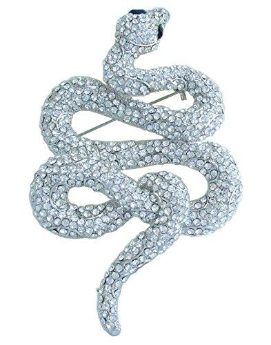 "Sindary Classic 3.94"" Unique Animal Snake Brooch Pin Clear Rhinestone Crystal BZ5847"
