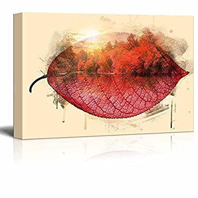Quality Creation, Grand Piece, Abstract Double Exposure Effect of Trees and a Lake in Fall on a Red Leaf