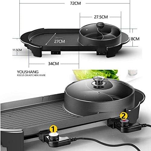 wjy Barbecue électrique Et Fondue Poêle à Frire Multi-Cuisson Facile à Nettoyer Anti-adhérent Coréen sans Fumée Contrôle De La Température De La Marmite