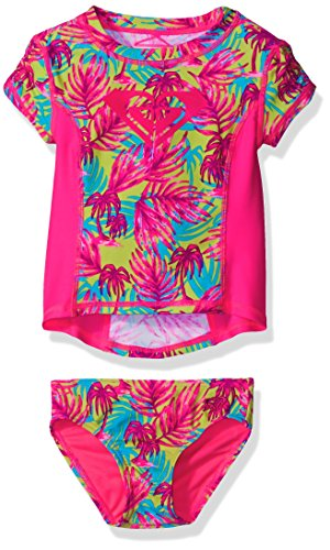 Roxy Baby Girls' Paradise Beach Short Sleeve Rashguard Set, Knockout Pink, 6-12 (Roxy Paradise Printed)