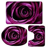 CHAQLIN Purple Rose Pattern 3 Piece Bathroom Set Bath Mat Contour and Lid Cover with Rubber Backing