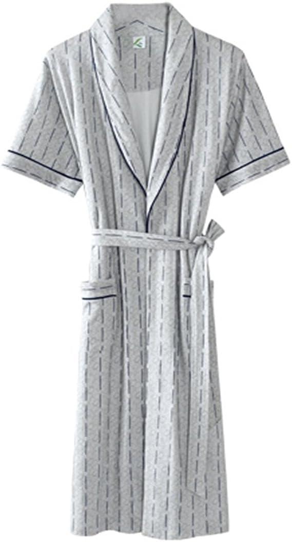Fashion Simple Solid Color Pockets Long Sleeve Mens Bathrobe Loose Sleepwear Nightgown Robe Grey