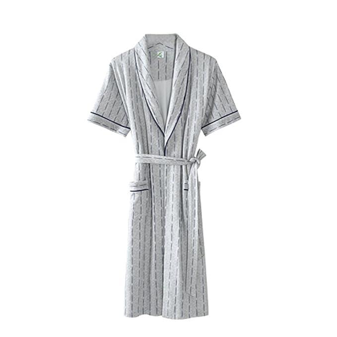 Albornoz 100% algodón hombres,Flojo pijama de kimono bata de ba?o manga