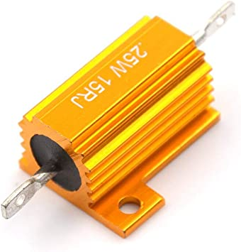RX24 25W 15R 15RJ Power Metal Shell Aluminium Gold Resistor 25Watt 15 ohm Power Heatsink Resistance Golden Heat Sink Resistor