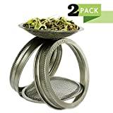sprout jar - T&Co. STAMPED Sprouting Lids – 316 Stainless - CURVED Mesh for Superb Ventilation! – Use Wide Mouth Mason Jars for making organic sprout seeds in your kitchen (2)