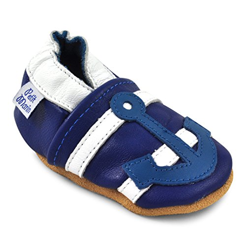 Petit Marin Beautiful Soft Leather Baby Shoes with Suede Soles - Toddler / Infant Shoes - Crib Shoes - Baby First Walking Shoes - Pre-walker Shoes - Anchor - 12-18 Months (20 Designs)