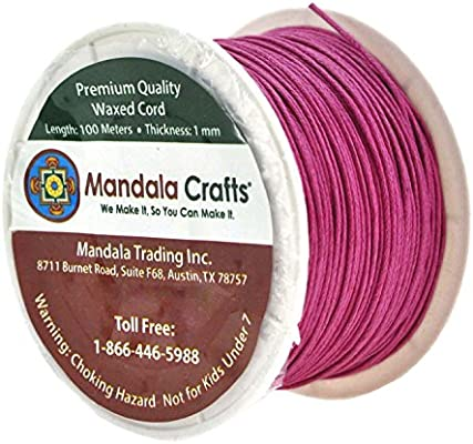 1mm Genuine Pink Natural Cotton Wax Cord 25 Yards Jewelry Supplies