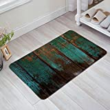 Doormat Kitchen Bathroom Soft Durable Accent Rug Small Carpet Mat Easy To Clean Modern Woven Hearth Mat Light 23.6 x15.7 inch-Vintage blue green wood grain