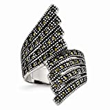 Chisel Stainless Steel Polished and Antiqued Simulated Marcasite Ring