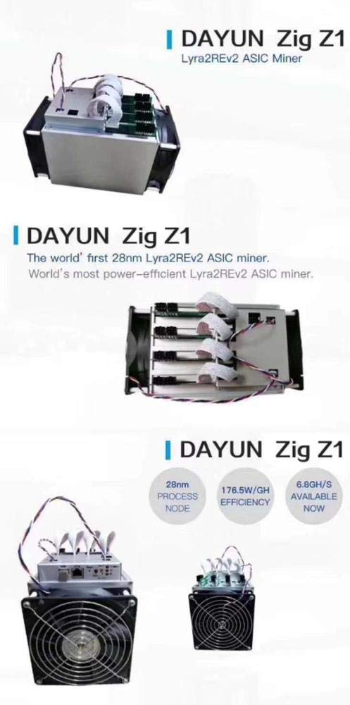 Profitable Dayun Zig Z1 6 8GH/s 1200W Lyra2REv2 Algorithm Make $80 a Day  Include Bitmain Apw3++ and Power Cord