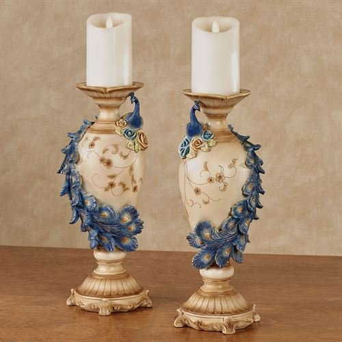 (Touch of Class Luxe Plumes Peacock Candleholders Blue Set of Two)