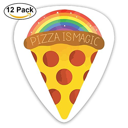 Guitar Pick ABS Raibow Magic Pizza Bass Guitar Acoustic Guitar Plectrums 12 Mixed Loading -