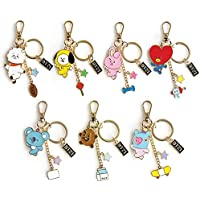PINGJING BTS Bangtan Boys Metal Key Ring Cute Korean Version of Key Pendant Small Exquisite Jewelry