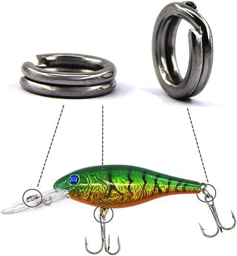50 St/ück Edelstahl Solid Fishing Abbildung 8 Jigging Rings Lure Tackle Connector Mit Angelzubeh/ör Angeln Split Rings