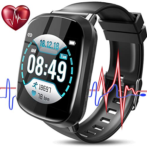(Smart Watch with Blood Pressure Monitor, Color Screen Fitness Tracker for Men Women with Blood Oxygen Heart Rate Monitor Sleep, Waterproof Sports Running Watch Band, Prime Summer Gift for Teens)