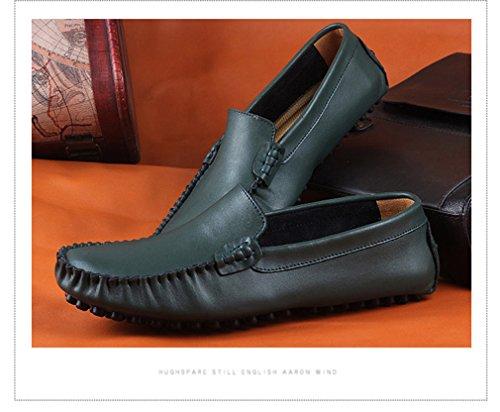 uomini degli mocassini Green Mo Drivng Big Fur Gli mocassini Zapatos Fluores appartamenti modo del Size genuino scarpe degli di uomini casual 35~47 scarpe cuoio 4vwggqBWX6