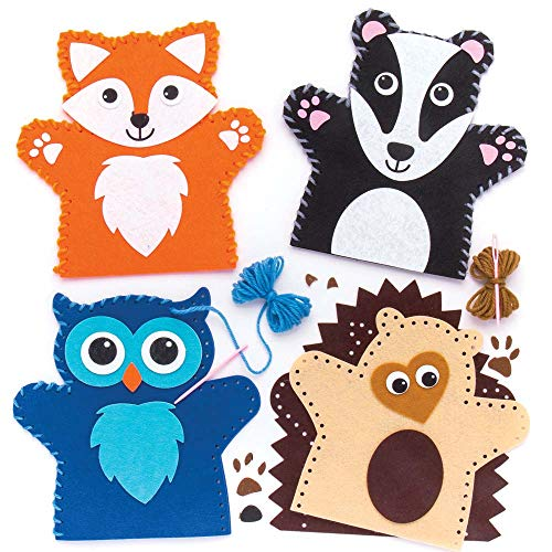 Baker Ross Woodland Animal Hand Puppet Sewing Kits (Pack of 4) for Kids Arts and Crafts ()