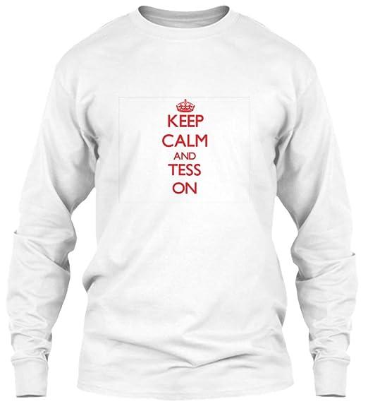 58e10b16f Amazon.com: Keep Calm and tess on Long Sleeve Tshirt - Gildan 6.1oz Long  Sleeve Tee: Clothing