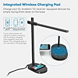 TaoTronics LED Desk Lamp with Wireless Charging Pad, Premium Metal Table Lamp with 5 Color Temperatures (2800-6500K) & 6 Brightness Levels - 5V/1A USB Charging Port, 1 Hour Timer & Memory Function