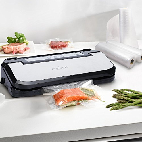 Cusimax Automatic Vacuum Sealer, 2-in-1 Food Sealer with 5 Bags and Cutter for Food Preservation, 150W, CMVS-S150, Black
