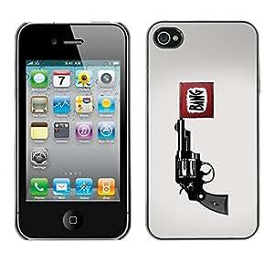 Carcasa Funda Prima Delgada SLIM Casa Case Bandera Cover Shell para Apple Iphone 4 / 4S / Business Style Bang Pistol Gun