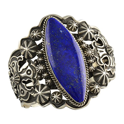 (Happy Piasso Sterling Silver Lapis Stamped Repousse Cross Cuff Navajo Bracelet)