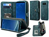 Spaysi, Samsung Galaxy S8 Zipper Wallet Case for Women Galaxy S8 Detachable Magnetic Wallet Case for Galaxy S8 Card Holder Case Leather Folio Flip Holster Carrying Case for Galaxy S8 (Blue)