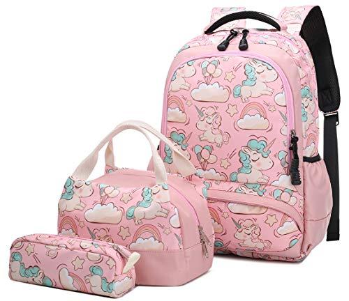 🥇 Mochila Escolar Unicornio Niña Infantil Adolescentes Sets de Mochila Backpack Casual Set con Bolsa del Almuerzo y Estuche de Lápices Rosa