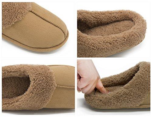 Hometop Mujeres Comfort Acolchado Memory Foam Forro Polar Forro Zapatillas De Casa Slip On Clog Zapatos De Casa Camel