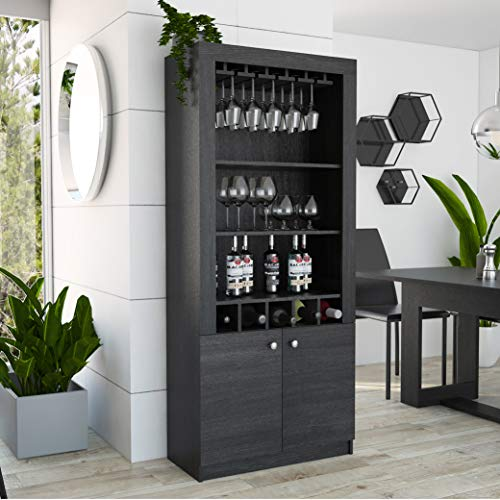 Beverage Bar - TUHOME Montenegro Collection Bar Cabinet/Home Bar Comes with a 5 Bottle Wine Rack, Storage Cabinets, 3 Shelves and a 15 Wine Glass Rack with a Modern Dark Weathered Oak Finish