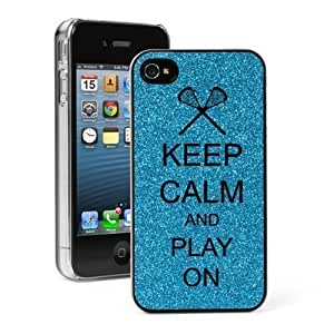 Light Blue For Apple Iphone 5/5S Case Cover 4G Glitter Bling Hard Case Cover G361 Keep Calm and Play On Lacrosse