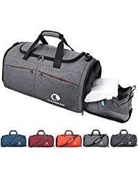 Sports Gym Bag, Travel Duffel bag with Wet Pocket & Shoes Compartment for men women, 45L, Lightweight