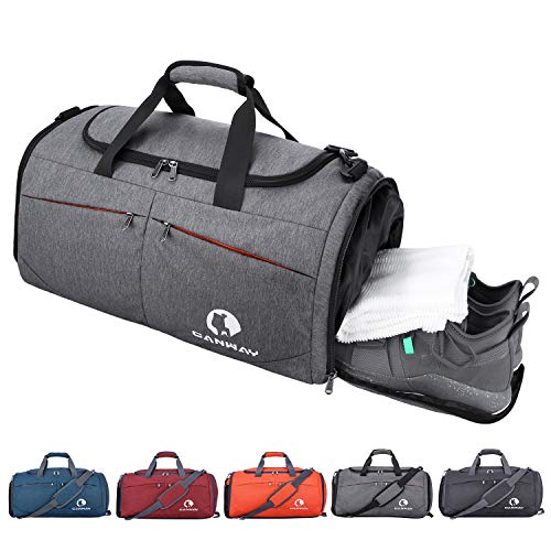 Canway Sports Gym Bag, Travel Duffel bag with Wet Pocket & Shoes Compartment for men women, 45L, Lightweight