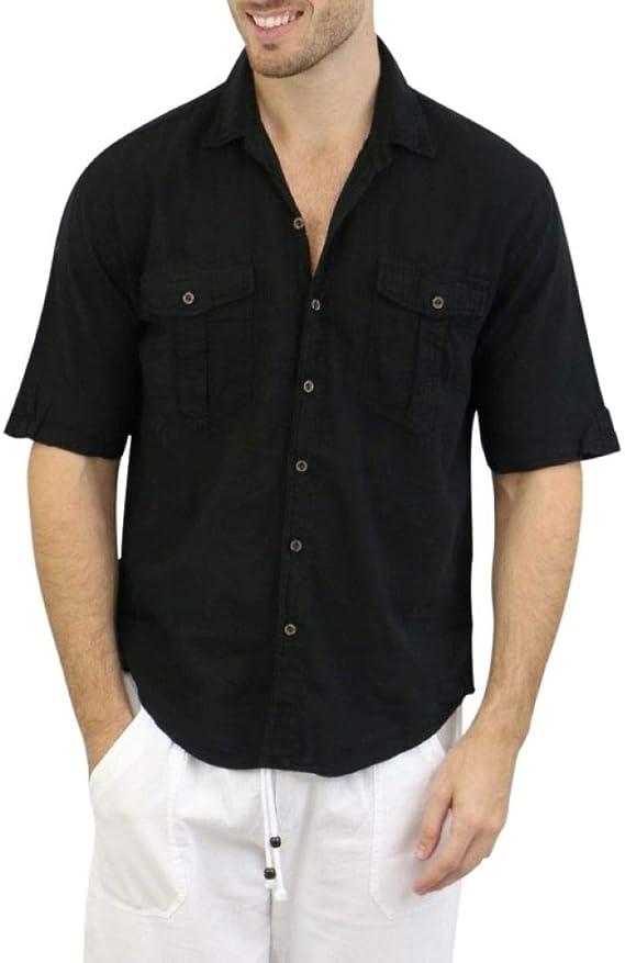 Amazon.com: Camisa blanca para hombre, 100% algodón, estilo ...