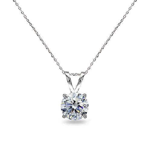 57f6c28e497 Sterling Silver Clear 7mm Round Solitaire Pendant Necklace Made with  Swarovski Crystals
