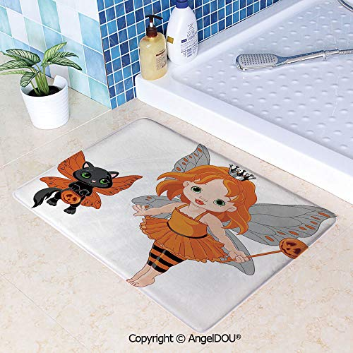 SCOXIXI Printed Non Slip Entry Door Mat Bathroom Carpet Halloween Baby Fairy and Her Cat in Costumes Butterflies Girls Kids Room Decor Decorative Area Rugs for Dining Room Living W31.5xL47.2(inch)