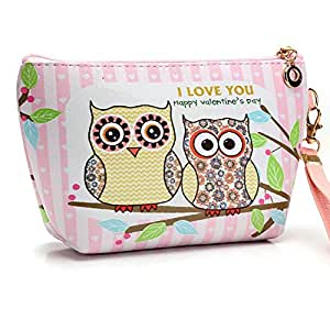 Owl Open Pockets Interlayer Zipper Bag Cute Cartoon Printing Handbag Woman Cosmetic Storage Bags Organizer