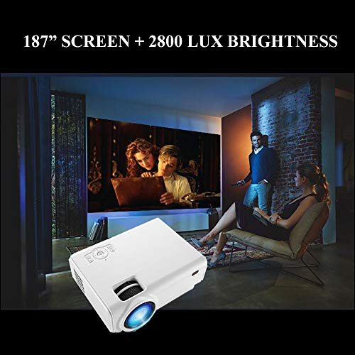 Mini Video Projector, XINDA 2800Lux Video Projector with 187'' Display 50,000 Hours LED Full HD Video Projector 1080P,Compatible with Fire TV Stick,HDMI, VGA, USB, AV, SD for Home Theate … by XINDA (Image #3)