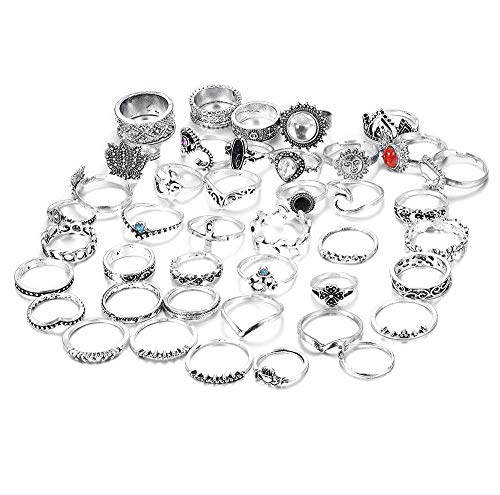 FIBO STEEL 42-63 Pcs Vintage Knuckle Rings for Women Girls Stackable Midi Finger Ring Set (A1: 42 Pcs a Set) by FIBO STEEL (Image #6)
