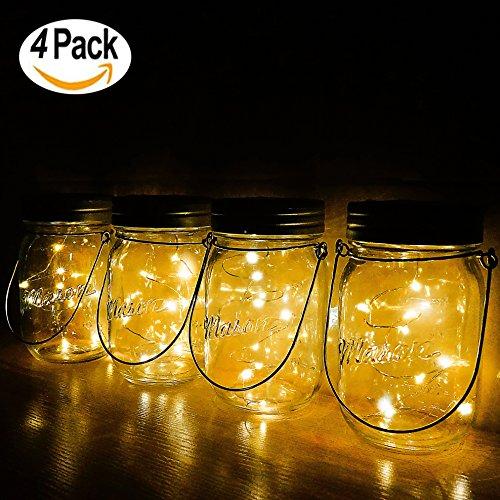 Solar Lanterns Mason Jar Hanging Lights,4 Pack 30 LED Lights String Fairy Firefly Starry Jar Lights (Mason Jars/Hangers Included),for Patio Garden Wedding Table Mason Jar Decor Solar Lantern Lights