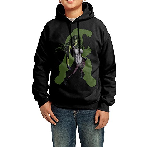 She Hulk Costume Shirt (YHTY Youth Boys/Girls Sweatshirt She Hulk Green Poster Black Size XL)
