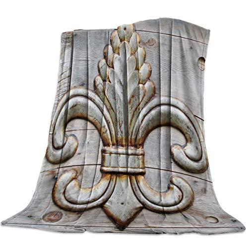 "wanxinfu Soft Cozy Warm Throw Blanket for Bed/Sofa/Chair All Season Decorative Throw Blanket for Home/Travel/Outdoor Fleur De Lis 49""x 79"""