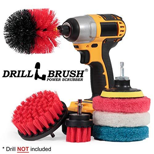 Drillbrush Scrub Brush - Drill Scrub Brush Attachment - Stone Cleaning - Deep Cleaning Brush - Ceramic Tile Cleaner Brush - Deck Scrub Brush - Drill Brush Pads - Rotary Drill Brush Cordless Scrubber