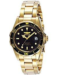 Men's 'Pro Diver' Quartz 23k-Yellow-Gold-Plated-Stainless-Steel Sport Watch, Color:Gold-Toned (Model: INVICTA-...