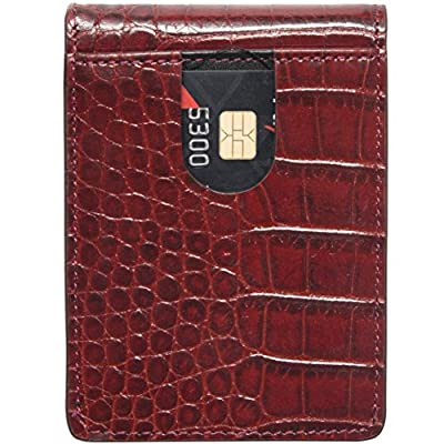 Lethnic Slim Money Clip Wallet, Bifold Leather Business Card Holder With ID Window