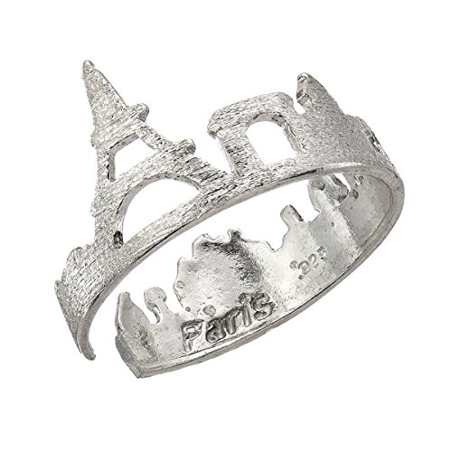 Paris Skyline City Ring - 925 Sterling Silver - Adjustable (Tower Eiffel Ring)