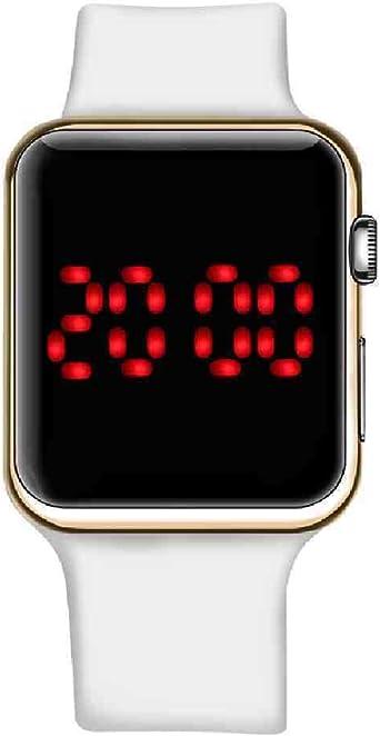 YDWD Reloj de Pulsera Digital Square Mirror Face Reloj Digital Hombres Mujeres Led Sport Reloj electrónico Reloj para Hombre Relojes para Mujer Reloj de Pareja, Oro Blanco: Amazon.es: Relojes